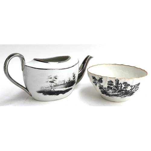 47 - A creamware bowl with gilt rim, transfer printed in black, together with a part silvered teapot...