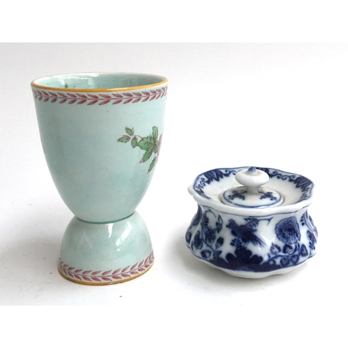 48 - A reversible egg cup by Adams, together with a Meissen blue onion pattern cache pot...