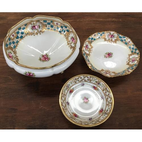 38A - Two Japanese Noritake footed bowls and a Noritake dish...