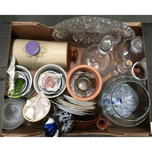 50A - A mixed box of china and glass including antique stoneware hot water bottle, pottery wine cooler, an...