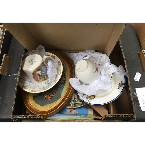 51A - A Royal Doulton Bunnykins bowl and Peter Rabbit mug; nursery cup saucers and plates, Torquay Ware ha...