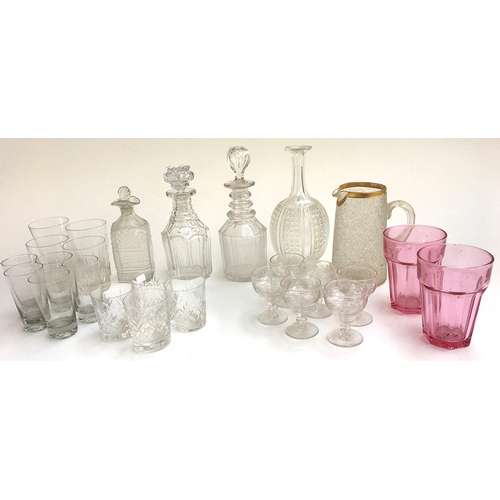 44 - Four Georgian and later decanters, together with a set of six late Nineteenth century etched sherry ...