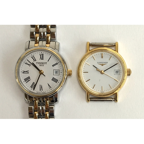 24 - A Tissot bracelet watch, together with a Longines...