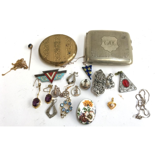 3 - Selection of costume jewellery to include a silver enamel necklace, yellow metal pin set with black ...