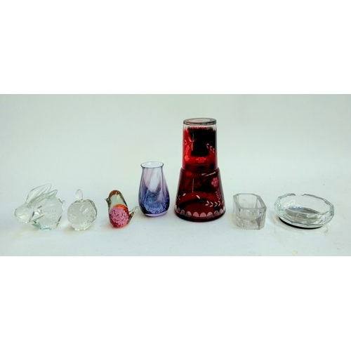 51A - A selection of glass items including a Bohemian glass carafe, three paperweights, ashtray, and vase...
