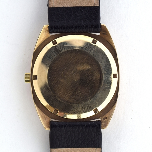 570 - A RECORD DELUXE 9CT GOLD HIGH BEAT AUTOMATIC DATE WRIST WATCH  Circa 1960s, silvered dial, raised do...