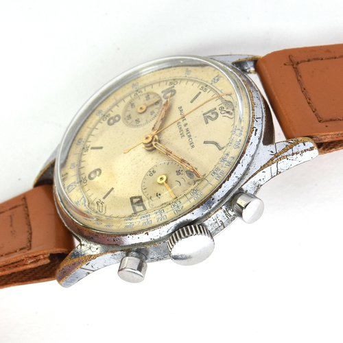 571 - A BAUME AND MERCIER STEEL AND CHROME PLATED CHRONOGRAPH WRIST WATCH Circa 1950s, cream dial, painted...