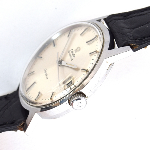 535 - AN OMEGA GENEVE AUTOMATIC GENTLEMAN'S STEEL WRIST WATCH Circa 1960s, silvered dial with raised doubl...