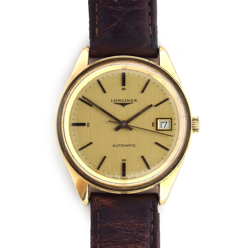 578 - A LONGINES STEEL AND GOLD PLATED AUTOMATIC GENTLEMAN'S WRIST WATCH Circa 1960s, champagne dial with ...