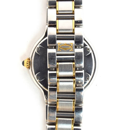 558 - A CARTIER 21 LADIES STEEL QUARTZ WATCH Silvered dial, with gold Roman numerals and steeled blue hand...