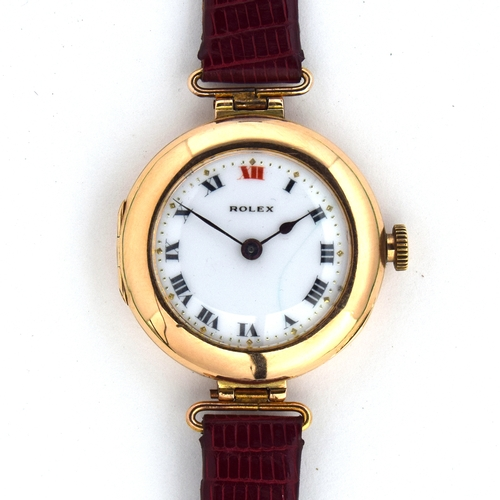 543 - A ROLEX 15CT GOLD MECHANICAL WRIST WATCH London hallmark for 1915, porcelain dial with Roman numeral...