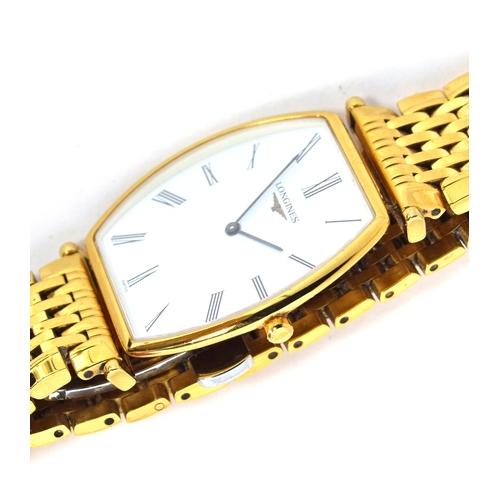 576 - A LONGINES LA GRANDE CLASSIQUE GOLD PLATED GENTLEMAN'S QUARTZ WATCH Circa 1990s, white dial with pai...