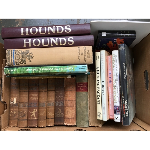 48 - A mixed box of country sports books to include two bound volumes of Hounds magazine from 1986 and 19...