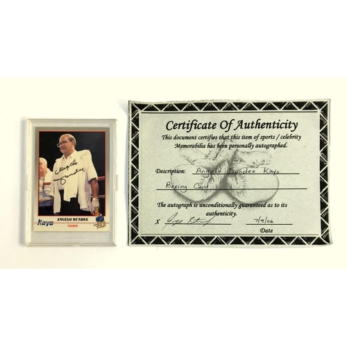 44 - Boxing interest, a signed Angelo Dundee Kayo boxing card, together with certificate of authenticity...