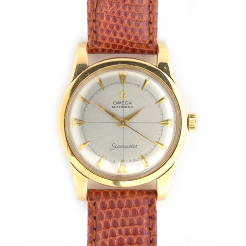 524 - AN OMEGA SEAMASTER 18CT GOLD GENTLEMAN'S BUMPER AUTOMATIC WRIST WATCH 1950-51, silvered dial, arrow ...