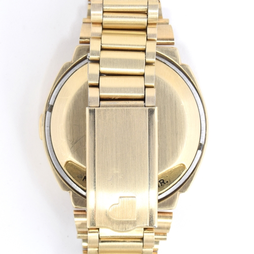 572 - A PULSAR TIME COMPUTER 14CT GOLD FILLED LED BRACELET WATCH   Circa 1970s, Quartz crystal digital dis...