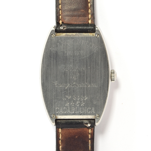 555 - A FRANCK MULLER CASABLANCA 2852 GENTLEMAN'S STEEL AUTOMATIC WRIST WATCH Black dial with exploded lum...