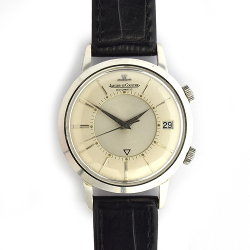 563 - A JAEGER LECOULTRE MEMOVOX STAINLESS STEEL WRIST ALARM WATCH Circa 1960s, ref 855, silvered dial, da...