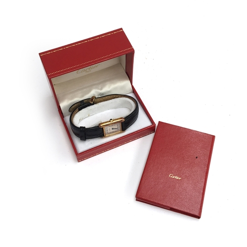 559 - A MUST DE CARTIER LADIES TANK SILVER GOLD PLATED WRIST WATCH Dated 1988, silvered two tone dial with...