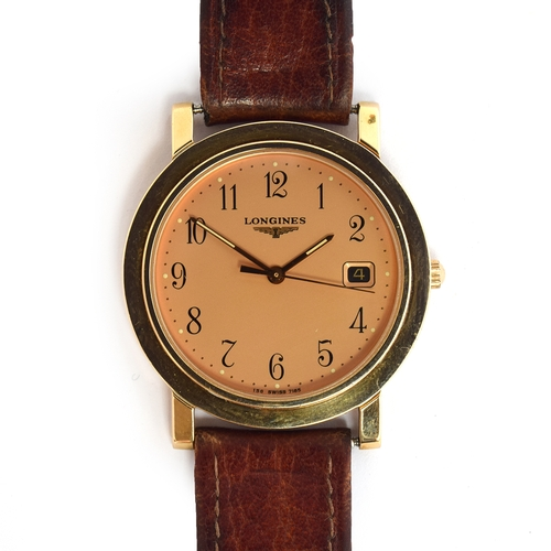573 - A LONGINES QUARTZ GOLD PLATED GENTLEMAN'S WRIST WATCH Steel back, champaign dial, Arabic numerals Mo...