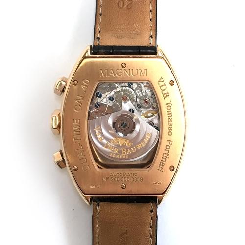 539A - A VAN DER BAUWEDE DUAL TIME MAGNUM 18CT WHITE GOLD GENTLEMAN'S WRIST WATCH Circa 2000, No.240 500 00...