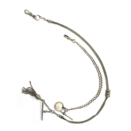 33 - A small silver graduated watch chain with T bar and 1890 3d coin; together with a fine silver chain...
