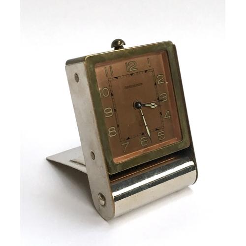 58 - A Jaeger le Coultre Art Deco two-day alarm travel desk clock...