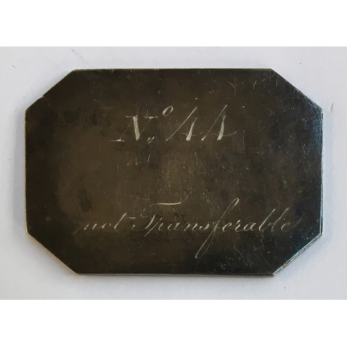 38 - A silver ticket for the Doncaster races subscription stand, rectangular octagon, engraved, obverse w...