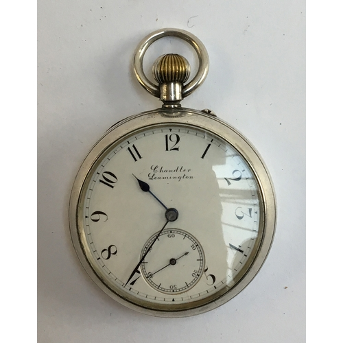 48 - A silver cased top wind open face pocket watch, the dial marked Chandler Leamington, having Roman nu...