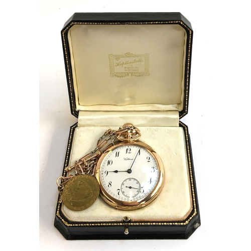 56 - A Waltham top wind open face pocket watch, Arabic numerals and subsidiary seconds at six, on chain w...