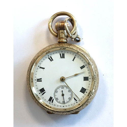 52 - A 9ct gold ladies open face top wind pocket watch, the engine turned case marked Dennison Watch Co.,...
