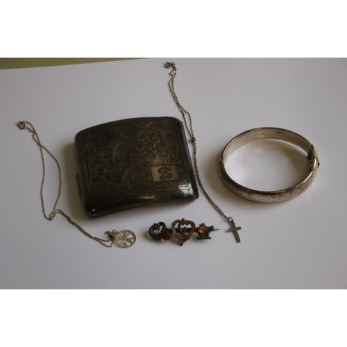 1 - A QUANTITY OF HALLMARKED SILVER, to include a cigarette case, bangle, brooch and two chains with pen...