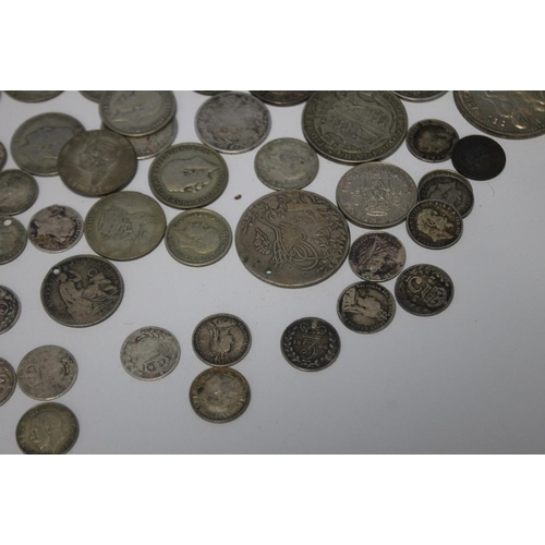 21 - A QUANTITY OF SILVER AND WHITE METAL COINS, to include 3ds, a Gothic florin etc.