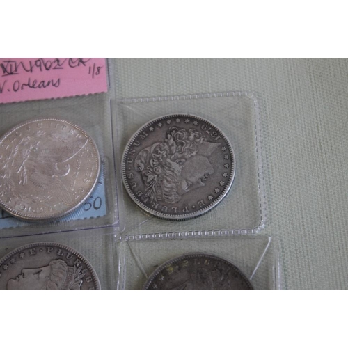 29 - US SILVER DOLLARS 1879-0, 1884, 1890, 1900, 1902-0 AND 1921-D
