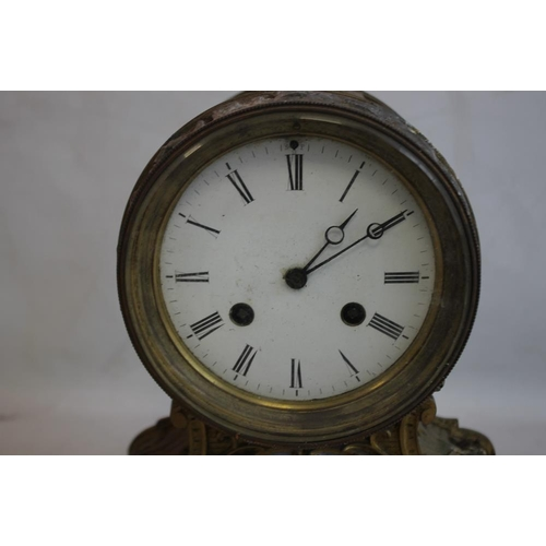 3 - A 19TH CENTURY FRENCH GILT DRUM HEAD MANTEL CLOCK with movement stamped for Jean-Baptiste Deletrez, ...