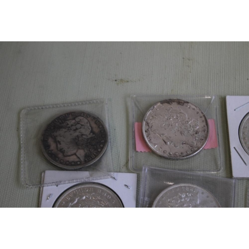 32 - US SILVER DOLLARS 1881, 1881-0, 1885,1888 X 2 AND 1889