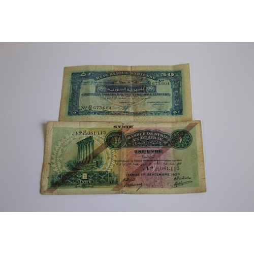 37 - A SYRIA AND LEBANON 1 LIVRE NOTE DATED 1ST SEPTEMBER 1939, and a Syria 50 Piastres dated 1st August ...