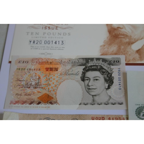 39 - A BANK OF ENGLAND 2000 MILLENIUM £10 NOTE WITH COA PREFIX YR20 FROM AN EDITION OF 1500, together wit...