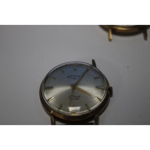 4 - THREE 9 CT GOLD WATCHES A/F, consisting of two Gentleman's Rotary types and a ladies Regency  (3)