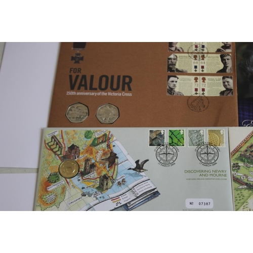 41 - A COLLECTION OF COIN AND STAMP COVERS, to include 2005 Nelson Trafalgar £5, pair 2006 Brunel £2, 200...