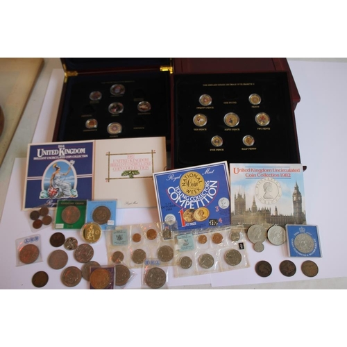 43 - ROYAL MINT UNCIRCULATED SETS, COMMEMORATIVE'S, COINS ETC, coloured coins in presentation boxes etc