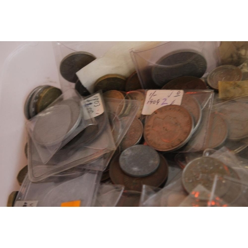 45 - A TUB OF BRITISH AND WORLD COINS