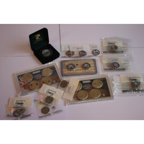 48 - US INTEREST COLLECTION, to include a full set of colorized State Quarters in archival folder, cased ...