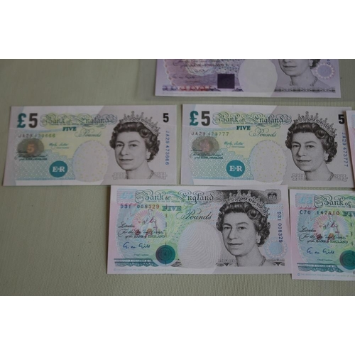 51 - A BANK OF ENGLAND £20 GILL PREFIX AA 42, £5 Gill x 3 prefixes B88, C70 and D31 and Lowther consecuti...