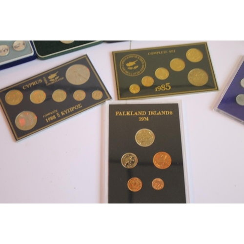 57 - PROOF SETS OF COINS to include Belize 1974 x 2, Cyprus 1963, Zambia 1968, Malawi 1964, Falklands 197...