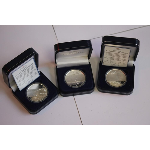 59 - NORWAY - THREE CASED SILVER PROOF 2005 100 KRONER with certificate of authenticity