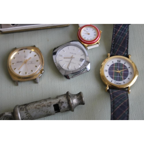 8 - A BOXED VINTAGE ORIS ALARM CLOCK and a quantity of wrist watches