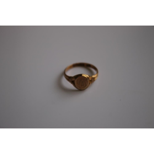 9 - A 9 CT GOLD FOB WATCH A/F, along with a 9 ct gold signet ring and a brooch  A/F