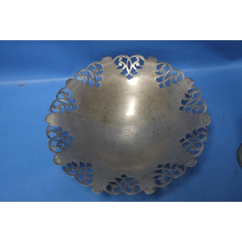 1 - A HALLMARKED SILVER DISH together with a white metal picture frame, trophy etc.