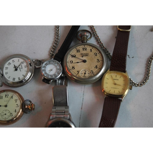 19 - AN ELGIN GOLD PLATED HUNTER POCKET WATCH and two others together with a small quantity of wrist watc...